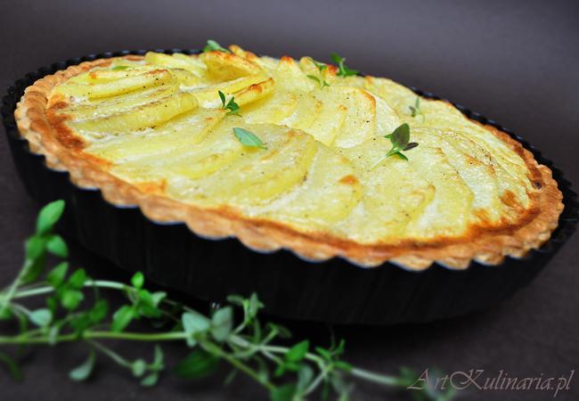 Tarta z duszoną cebulą i ziemniakami - Zdjęcie pochodzi ze strony www.artkulinaria.pl